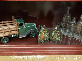 Shelf Lot Of Decor Vintage Modern Truck Metal/Cast Iron Vintage Set of Iron's Hand Painted And Bottle Set