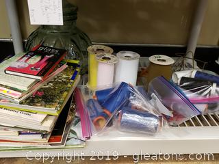 Shelf Lot of Glass Canister/Tulle, Thread, Picture Stand, Lots Of Books
