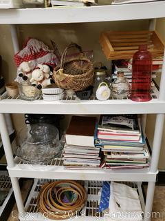 Large Shelf Lot Of Book/Home Decor
