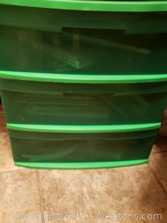 Plastic (3) Drawer Storage Unit With All Books/Home Decor Cookbooks/Etc