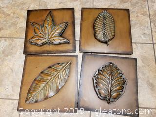 Set Of (4) Metal Leaf/Wall Decor Tiles