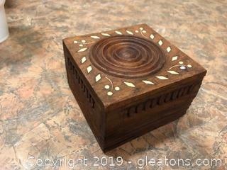 Small Wood Box Wood Inlay