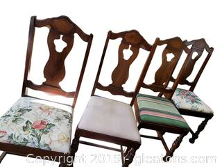 Set Of (4) Vintage Wooden Covered Bottom Dining Chairs