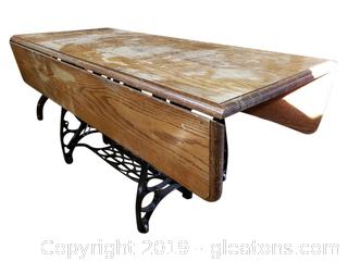 Vintage Refurbished Coffee Table/Sewing Machine/Dropleaf Top