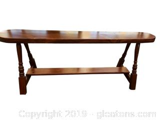 Wooden Refurbished Nice Unique Bench With Foot Rest