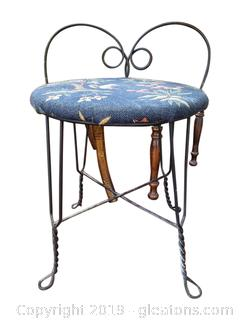 Small Vintage Iron Vanity Stool