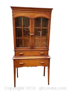 Vintage Maple Small Stickley Style Farmhouse China Cabinet
