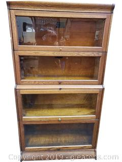 Vintage Camden Bookcase Oak/Glass Front Open Upwards (4) Sections