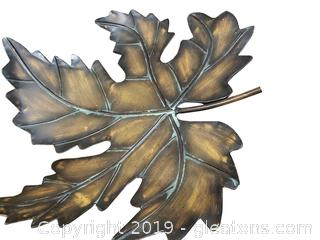 Large Decorative Metal Leaf/Tray