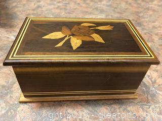 Vintage Wood Inlay Box Lined ANd Wire Decorative Stone