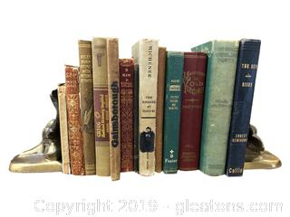 Set Of Old Books With Brass Bookends
