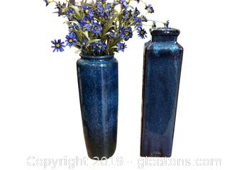Set Of Blue Vases
