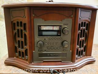 Modern Vintage Style Stereo/Record Player/CD Cassette Tape