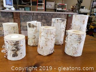 Set Of (7) Real Birch Tree Candle Holder (Tea Lights)