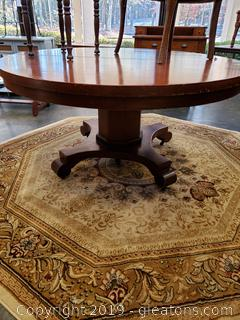 Large Round Vintage Pedestal Table on Casters
