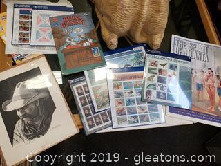 Vintage Lot Of Collectibles Bob Johnson Print