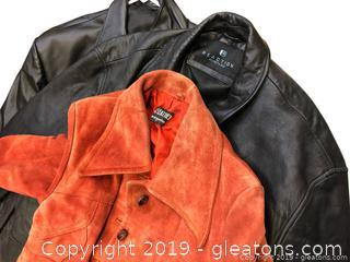 Lot Of 2 Leather Coats 1 Suede