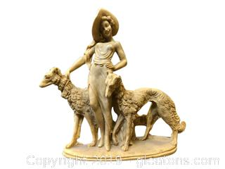 Vintage Figurine Of Lady + Dogs