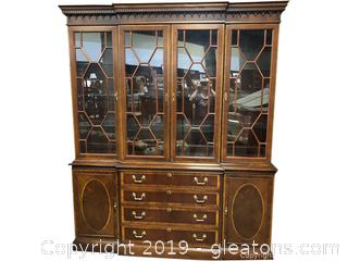 Stunning Large Inlay China Cabinet from Hickory