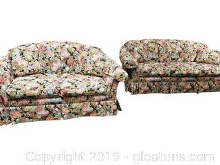 American Home Collection Made By Lazy Boy Loveseat /With Matching Floral/Tapestry Sofa Design