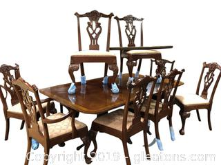 Chippendale Style Dining Table Set With 10 Chairs 2 Leaves And Table Pandas