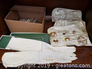 Large Lot of Vintage Jewelry And Box Of Long Vintage Leather/White Gloves