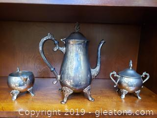 Silver Plated Vintage Tea Set Pot/Creamer/Sugar Stamped EP Brass