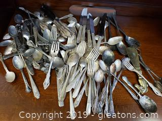 Large Lot Of Vintage Flatware Different/Names One Community Silver Plated