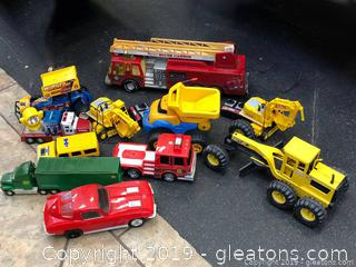 Vintage Tonka Toys 2 Remote Control Dozers And Car Vintage Fire Truck Tonka Is Cast Metal