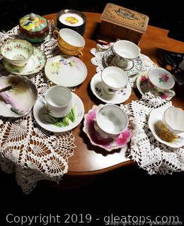 Vintage Lot Of Charming Dollie's/Tea Cups And Saucers/Wooden Box Brass Details Fruit/Silver Coasters