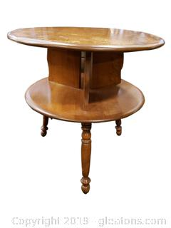 Mid Century Tiered Round Vintage Wooden Side Table/Accent Table