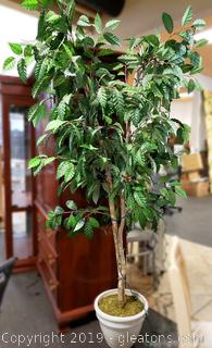 Large Silk Ficus Tree 8ft. Tall/Pottery Vase