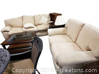Sofa and Love Seat Combo LIKE NEW Micro Fiber