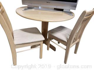 Small Dinette Table And (2) Chairs/Drop Leaf/Blonde Color