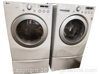 LG Washer/(Like New) Dryer Front Load/With Pedestal Bases White/Sensor Dry/Inverter Direct Drive Washer