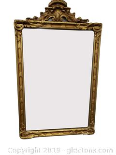 Small Wood Gold Ornate Detailed Mirror