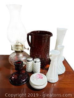 Vintage Glassware Lot Including Milk Glass/Ruby Red/Trinket Box Japan/Oil Lamp