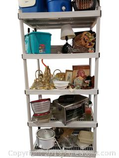 Large Shelf Lot Household Items (Great Stuff) Small Animal Pet Carrier/Cooler/Decor
