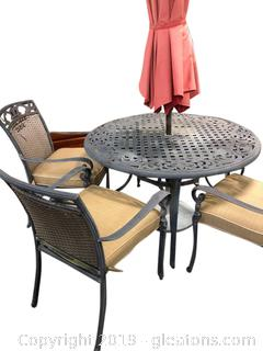 "Vintage ""Like"" Patio Set With Umbrella - Stand And Cushions"
