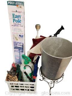 Lot Of Gardening Tools, Gloves, Birdhouse, Metal Aluminum Trash Can, Plant Stand, Large Umbrella