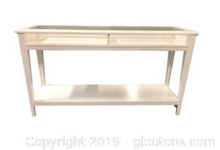 Beautiful Contemporary Sofa Table With Glass Inserts, Bottom Shelf