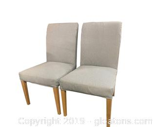 Pair Of Parson Chairs With Blue Tuking Fabric Super Cute