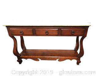 Beautiful Solid Wood Sofa Table With Beige Marble Top And Bottom Shelf
