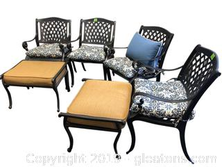 Set Of 4 Outdoor Chairs And 2 Ottoman Black Metal And Includes Cushions And One Pillow