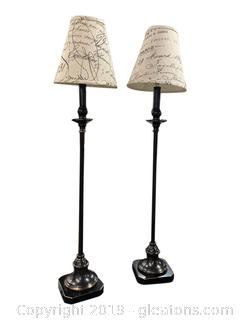 Set Of 2 Pole Lamps With Paris Shades