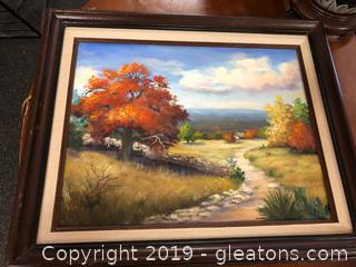 Oil Painting In Frame Landscape