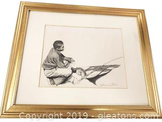 Charcoal Print Framed By Maurice Hodo
