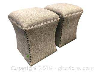 Set Of 2 Very Nice Counter Height Stools Upholstered With Decorative Tools