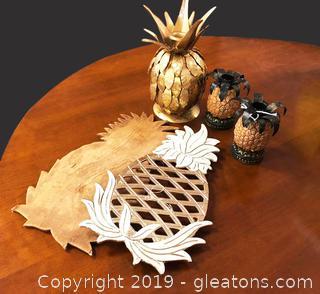 Box Lot Of Pineapple Decor