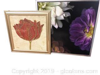 Lot Of 2 Flower Pics Silver Frame Gold Frame